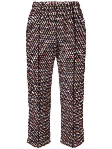 Нейлоновые коричневые укороченные брюки с высокой посадкой Coohem