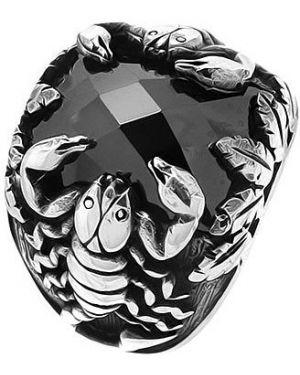 Кольцо серебряный черный Evora