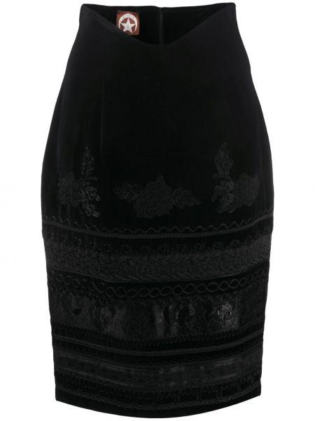 Jedwab czarny spódnica ołówkowa z haftem zabytkowe A.n.g.e.l.o. Vintage Cult