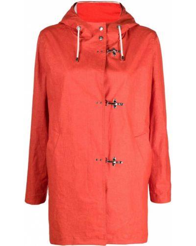Оранжевый дождевик с капюшоном с воротником-стойка Fay