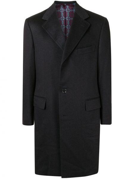 Czarny płaszcz wełniany Stefano Ricci