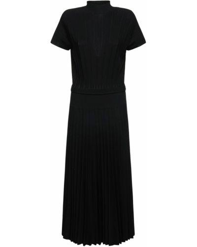 Шелковое платье миди - черное Agnona