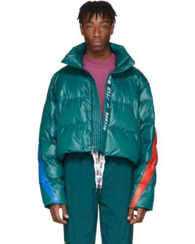 Zielona długa kurtka pikowana z haftem Reebok By Pyer Moss