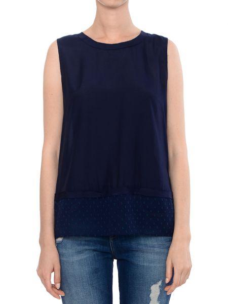 Шелковый топ - синий Armani Jeans