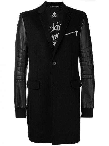 Шерстяное черное пальто на пуговицах Philipp Plein