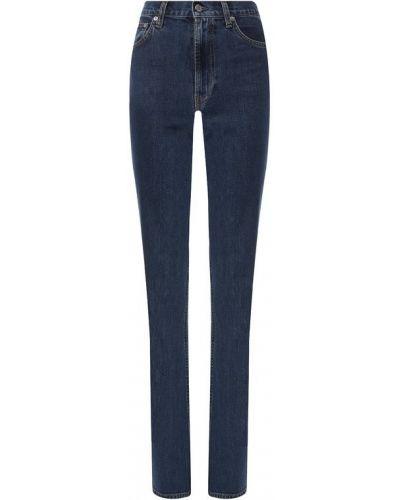 Расклешенные джинсы стрейч синие Helmut Lang