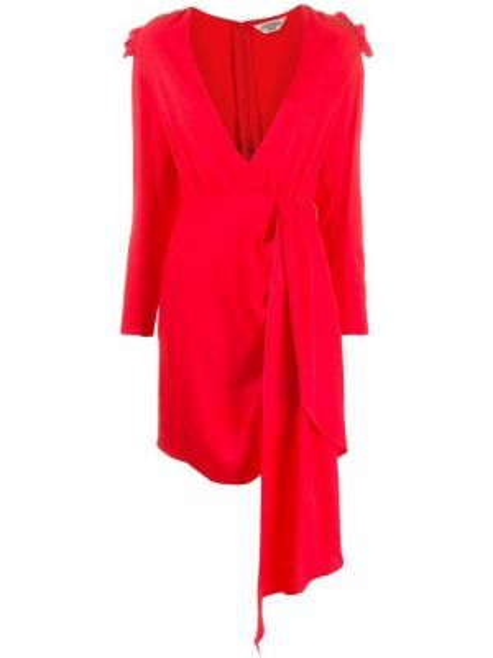 Асимметричное красное платье на молнии из вискозы Jovonna