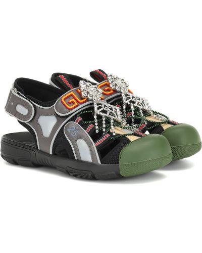 Спортивные сандалии черные песочный Gucci