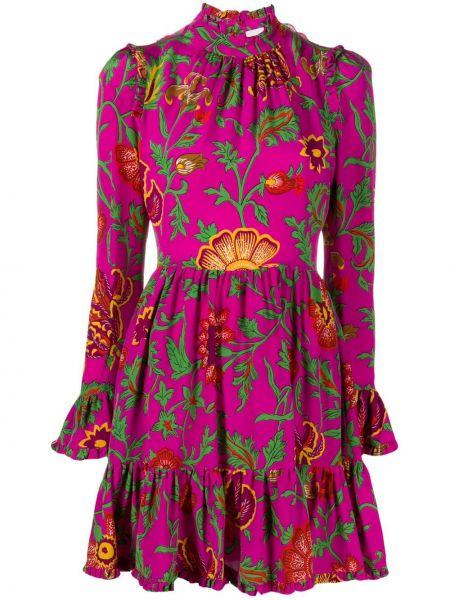 С рукавами шелковое розовое платье мини с декоративной отделкой La Doublej