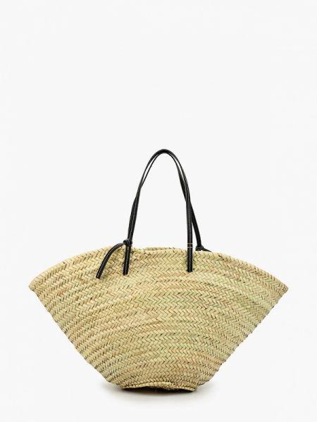 Кожаная сумка соломенная пляжная Violeta By Mango
