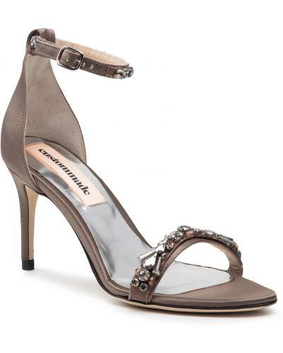 Szare sandały eleganckie Custommade