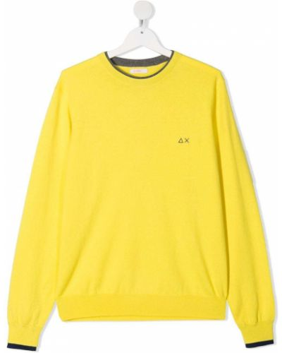 С рукавами желтая толстовка с вышивкой Sun 68