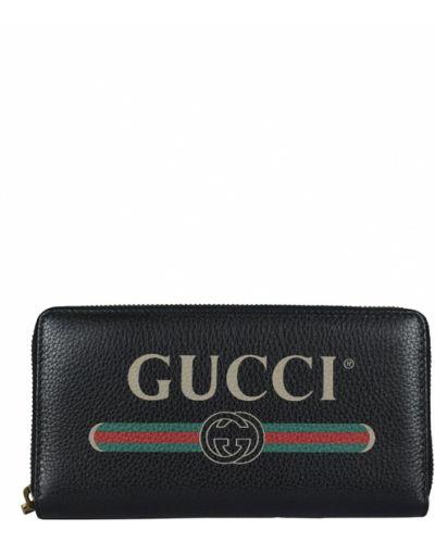 Portfel z printem - czarny Gucci