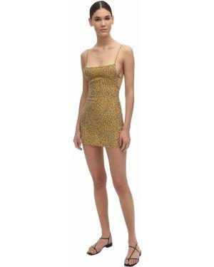 Sukienka mini z printem - żółty Anemone