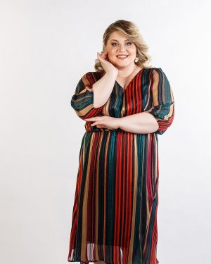 Летнее платье с V-образным вырезом с поясом Jetti-plus