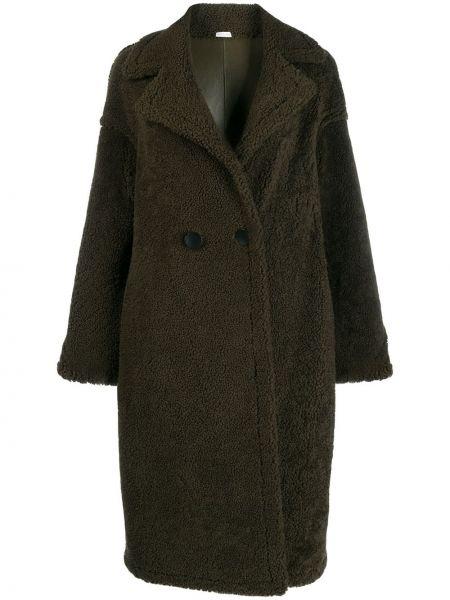 Зеленое пальто классическое двубортное из овчины Liska