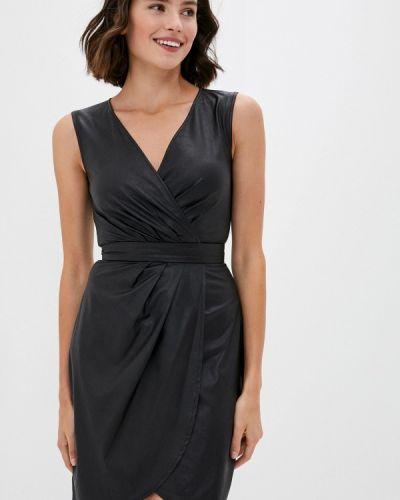 Кожаное черное платье Love Republic