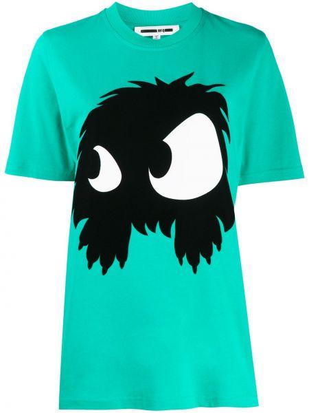 Зеленая хлопковая прямая футболка с круглым вырезом Mcq Alexander Mcqueen