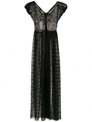 Czarny strój kąpielowy koronkowy z dekoltem w serek Amir Slama