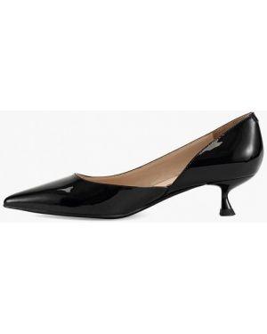 Кожаные туфли черные лодочки Ekonika