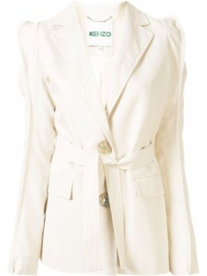 Белая куртка с поясом с лацканами на пуговицах Kenzo