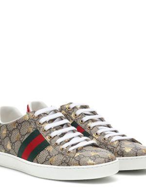 Кожаные кроссовки леопардовые коричневый Gucci