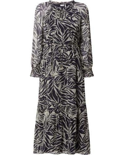 Sukienka midi z falbanami - czarna S.oliver Black Label