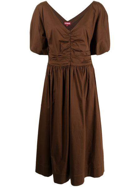 Коричневое платье миди с V-образным вырезом на молнии Staud