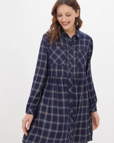 Синее платье-рубашка Zolla