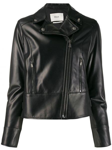 Черная кожаная куртка байкерская Bally