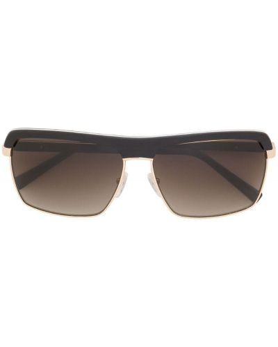 Прямые черные солнцезащитные очки металлические с завязками Gold And Wood