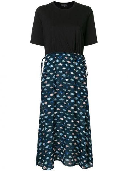 Черное платье миди с вырезом эластичное с короткими рукавами Markus Lupfer