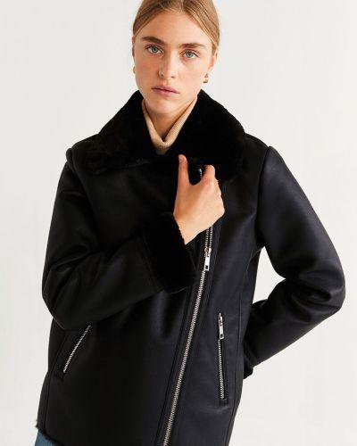 Черная куртка с капюшоном с подкладкой из искусственного меха Mango