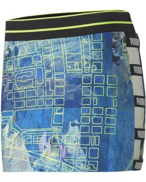 Платье с поясом в рубчик с принтом Puma