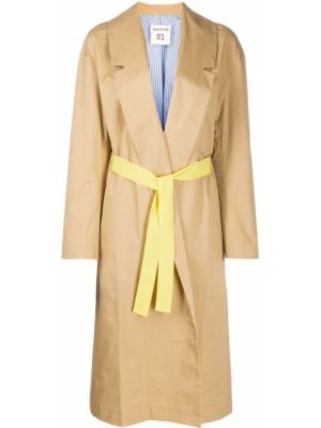 Длинное пальто бежевое без воротника Semicouture