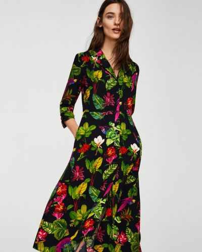 Платье миди с поясом из вискозы Mango