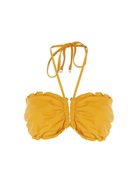 Nylon żółty bikini elastyczny z więzami Seafolly