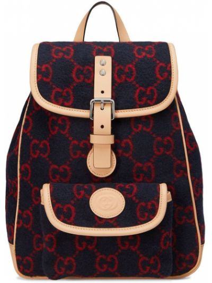 Синий кожаный рюкзак с карманами Gucci Kids