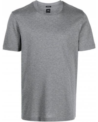Серая прямая футболка с вырезом Boss Hugo Boss