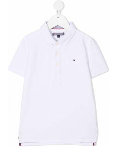 Хлопковая с рукавами белая рубашка Tommy Hilfiger Junior