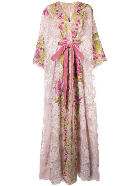 Шелковое розовое кружевное платье Marchesa