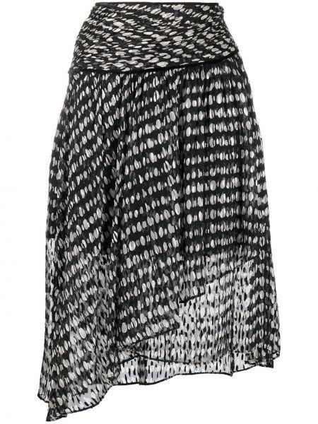 Z wysokim stanem czarny spódnica z wiskozy z draperią Pinko