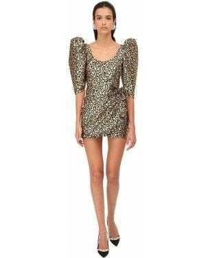 Платье мини с декольте с люрексом с подкладкой круглое Alessandra Rich