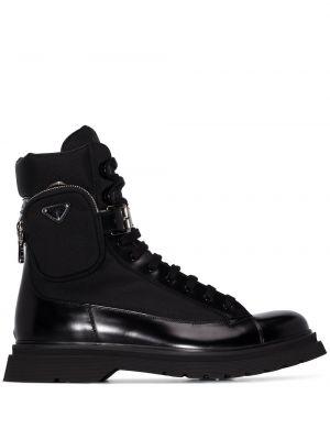 Skórzany czarny buty skórzane zasznurować z kieszeniami Prada
