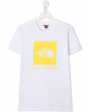 Хлопковая белая рубашка с короткими рукавами круглая The North Face Kids