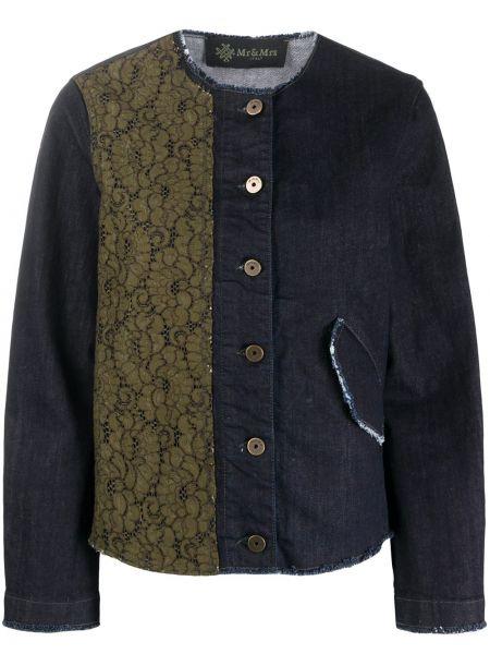 Джинсовая куртка с вышивкой - синяя Mr & Mrs Italy