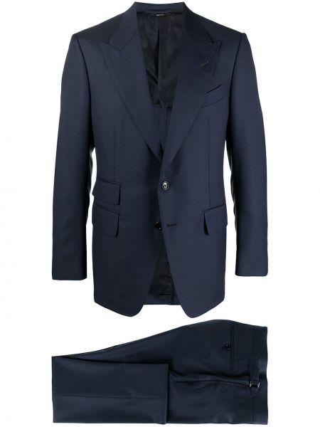 Jednorzędowy wełniany niebieski garnitur Tom Ford