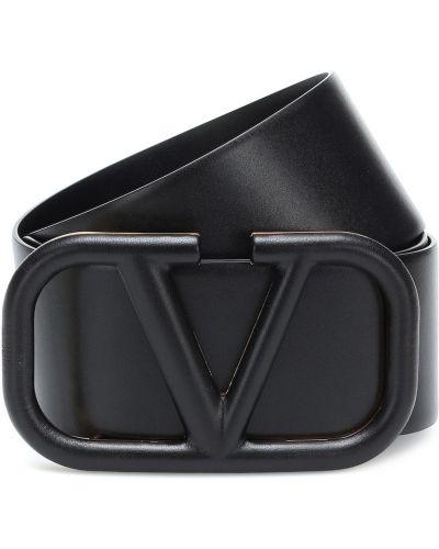 Кожаный черный ремень с поясом Valentino Garavani