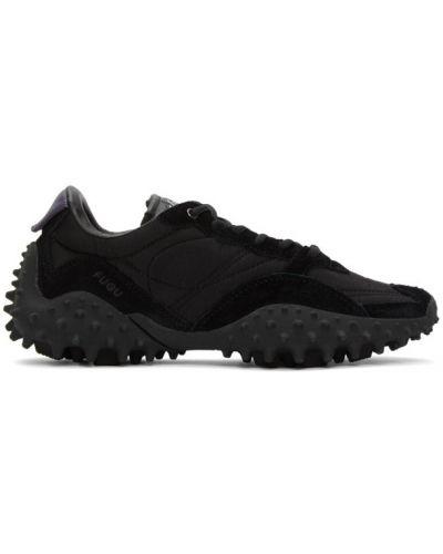 Ażurowy czarny włókienniczy skórzane sneakersy na sznurowadłach Eytys