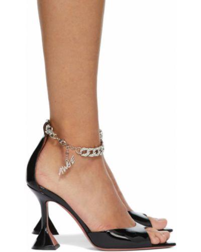 Czarne sandały skorzane Amina Muaddi